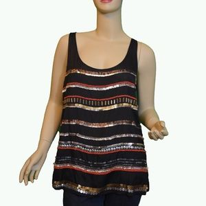 DKNY Sequined  and Beaded Black Tank Top